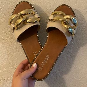 Brown & Beige Sandal Slide Rinestone